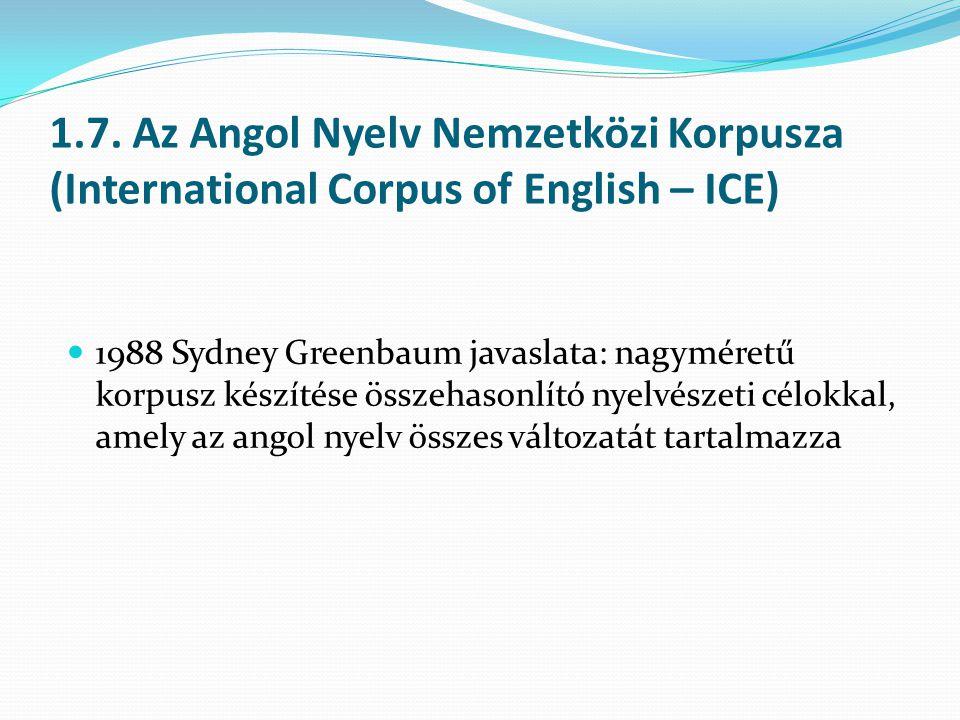 1.7. Az Angol Nyelv Nemzetközi Korpusza (International Corpus of English – ICE) 1988 Sydney Greenbaum javaslata: nagyméretű korpusz készítése összehas