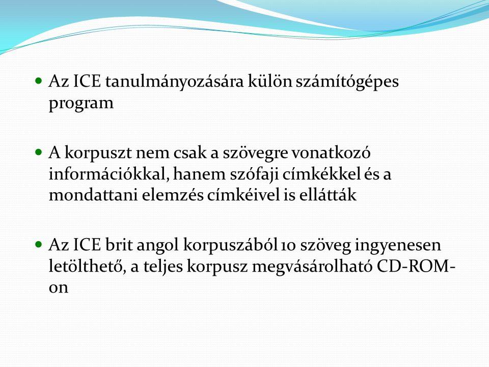 Az ICE tanulmányozására külön számítógépes program A korpuszt nem csak a szövegre vonatkozó információkkal, hanem szófaji címkékkel és a mondattani elemzés címkéivel is ellátták Az ICE brit angol korpuszából 10 szöveg ingyenesen letölthető, a teljes korpusz megvásárolható CD-ROM- on