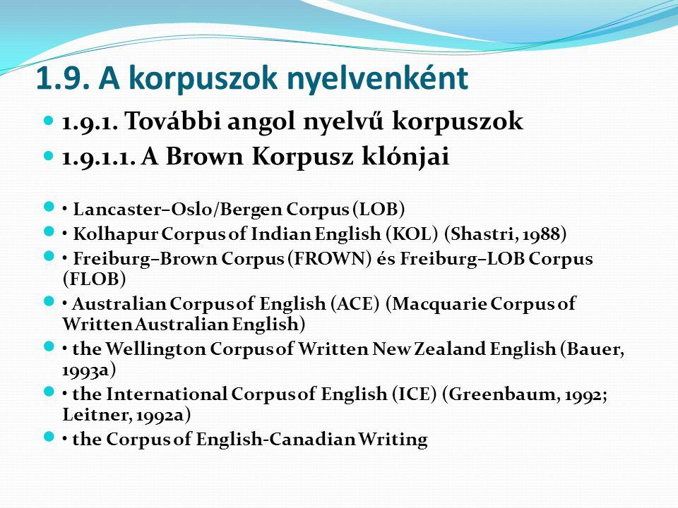 1.9.A korpuszok nyelvenként 1.9.1. További angol nyelvű korpuszok 1.9.1.1.