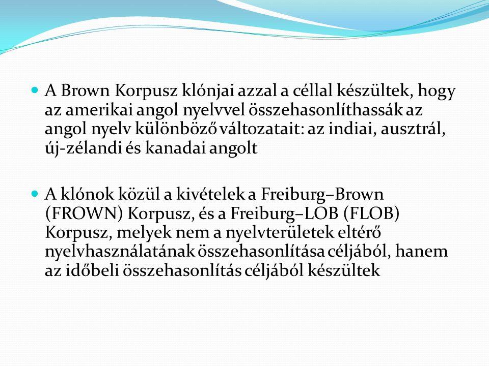 A Brown Korpusz klónjai azzal a céllal készültek, hogy az amerikai angol nyelvvel összehasonlíthassák az angol nyelv különböző változatait: az indiai, ausztrál, új-zélandi és kanadai angolt A klónok közül a kivételek a Freiburg–Brown (FROWN) Korpusz, és a Freiburg–LOB (FLOB) Korpusz, melyek nem a nyelvterületek eltérő nyelvhasználatának összehasonlítása céljából, hanem az időbeli összehasonlítás céljából készültek