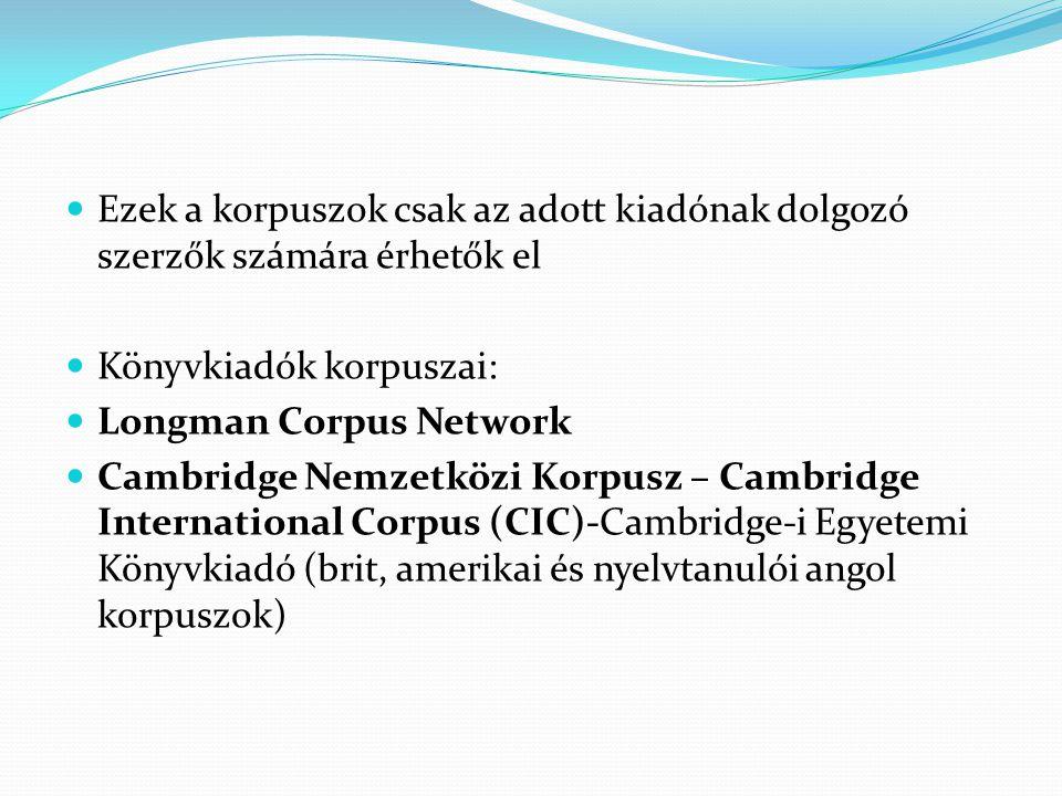Ezek a korpuszok csak az adott kiadónak dolgozó szerzők számára érhetők el Könyvkiadók korpuszai: Longman Corpus Network Cambridge Nemzetközi Korpusz – Cambridge International Corpus (CIC)-Cambridge-i Egyetemi Könyvkiadó (brit, amerikai és nyelvtanulói angol korpuszok)
