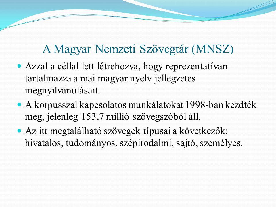 A Magyar Nemzeti Szövegtár (MNSZ) Azzal a céllal lett létrehozva, hogy reprezentatívan tartalmazza a mai magyar nyelv jellegzetes megnyilvánulásait.