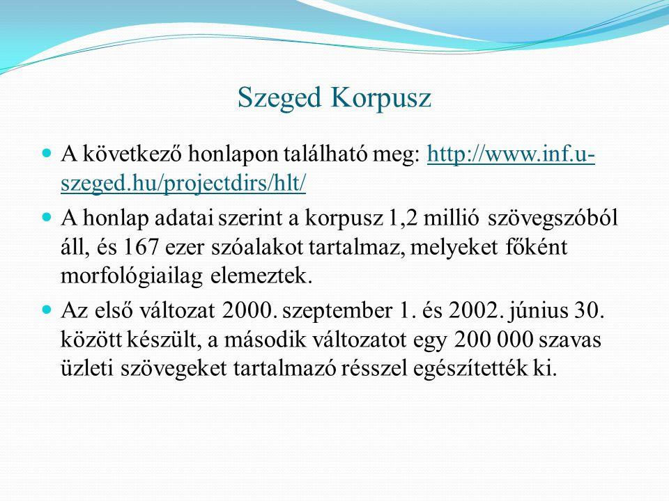 Szeged Korpusz A következő honlapon található meg: http://www.inf.u- szeged.hu/projectdirs/hlt/http://www.inf.u- szeged.hu/projectdirs/hlt/ A honlap adatai szerint a korpusz 1,2 millió szövegszóból áll, és 167 ezer szóalakot tartalmaz, melyeket főként morfológiailag elemeztek.