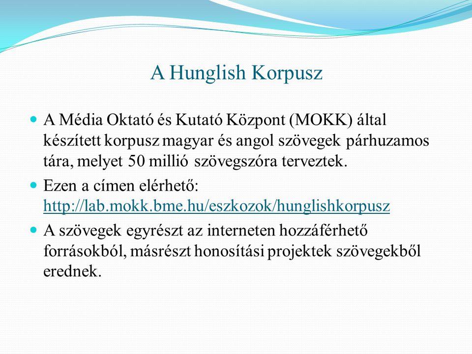A Hunglish Korpusz A Média Oktató és Kutató Központ (MOKK) által készített korpusz magyar és angol szövegek párhuzamos tára, melyet 50 millió szövegszóra terveztek.