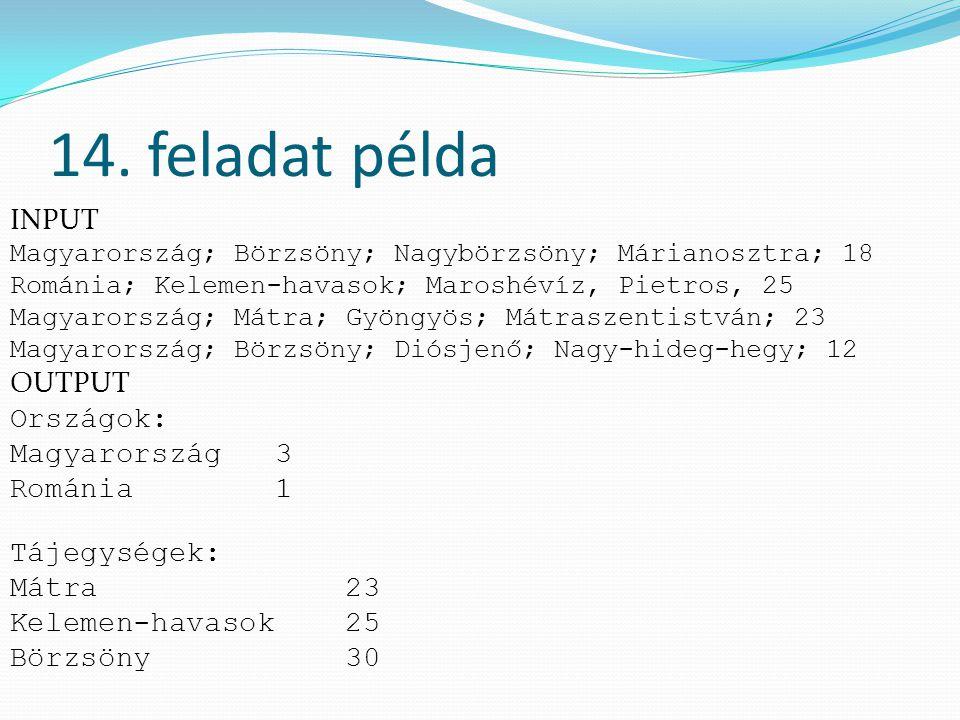 14. feladat példa INPUT Magyarország; Börzsöny; Nagybörzsöny; Márianosztra; 18 Románia; Kelemen-havasok; Maroshévíz, Pietros, 25 Magyarország; Mátra;