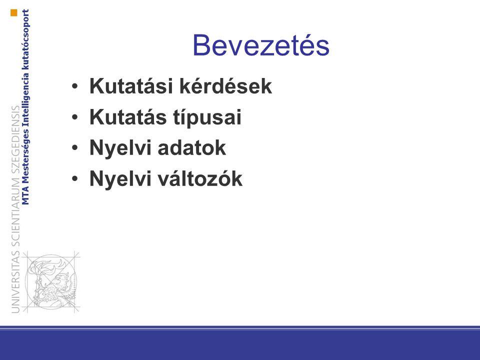 Bevezetés Kutatási kérdések Kutatás típusai Nyelvi adatok Nyelvi változók