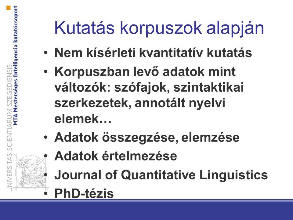 Kutatás korpuszok alapján Nem kísérleti kvantitatív kutatás Korpuszban levő adatok mint változók: szófajok, szintaktikai szerkezetek, annotált nyelvi