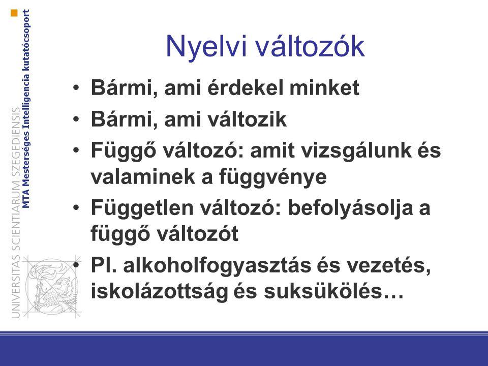 Nyelvi változók Bármi, ami érdekel minket Bármi, ami változik Függő változó: amit vizsgálunk és valaminek a függvénye Független változó: befolyásolja