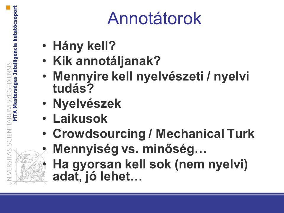 Annotátorok Hány kell? Kik annotáljanak? Mennyire kell nyelvészeti / nyelvi tudás? Nyelvészek Laikusok Crowdsourcing / Mechanical Turk Mennyiség vs. m