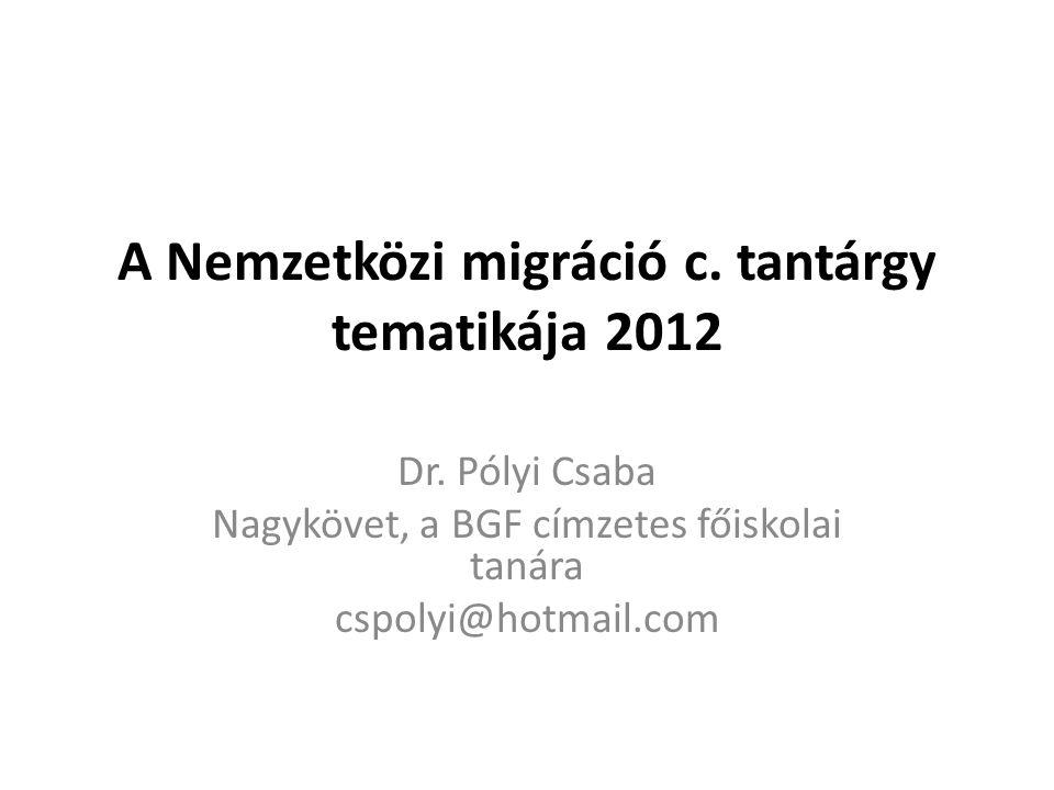 A Nemzetközi migráció c. tantárgy tematikája 2012 Dr. Pólyi Csaba Nagykövet, a BGF címzetes főiskolai tanára cspolyi@hotmail.com