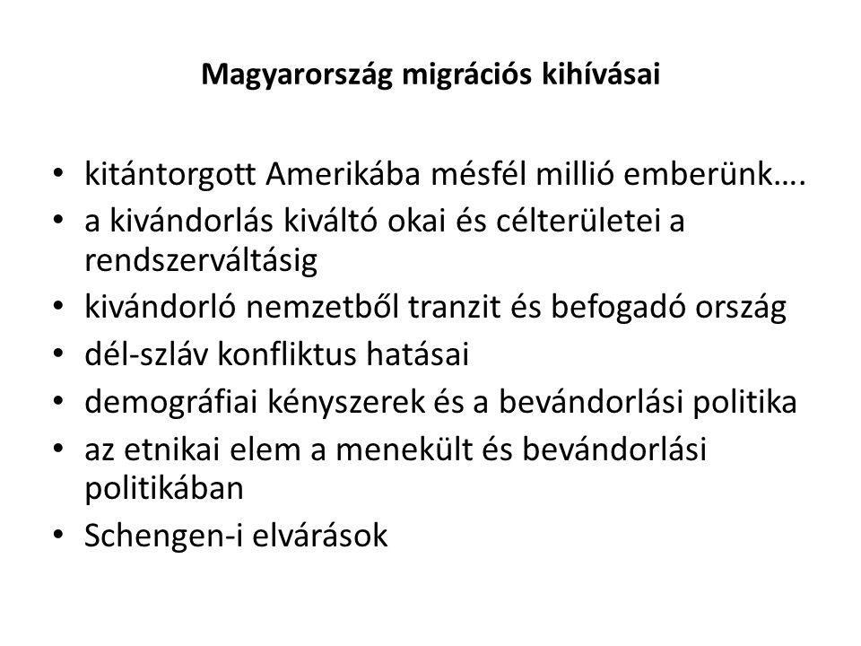 Magyarország migrációs kihívásai kitántorgott Amerikába mésfél millió emberünk…. a kivándorlás kiváltó okai és célterületei a rendszerváltásig kivándo