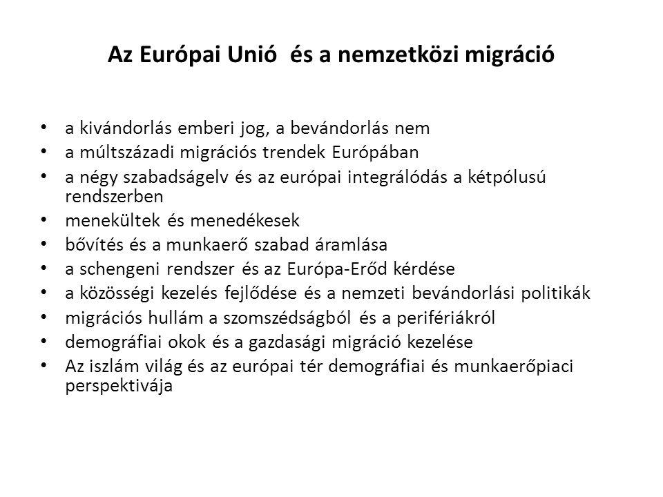 Az Európai Unió és a nemzetközi migráció a kivándorlás emberi jog, a bevándorlás nem a múltszázadi migrációs trendek Európában a négy szabadságelv és