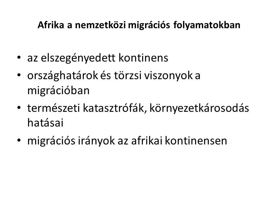 Afrika a nemzetközi migrációs folyamatokban az elszegényedett kontinens országhatárok és törzsi viszonyok a migrációban természeti katasztrófák, körny