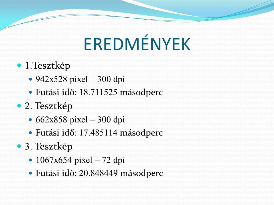 EREDMÉNYEK 1. Tesztkép 942x528 pixel – 300 dpi Futási idő: 18.711525 másodperc 2.