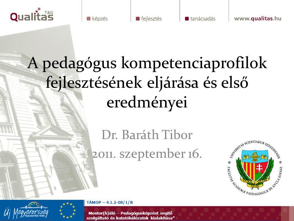 """Dr. Baráth Tibor 2011. szeptember 16. A pedagógus kompetenciaprofilok fejlesztésének eljárása és első eredményei TÁMOP – 4.1.2-08/1/B """"Mentor(h)áló –"""