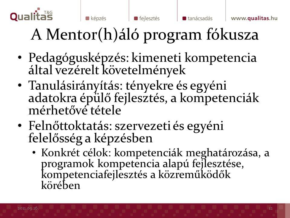A Mentor(h)áló program fókusza Pedagógusképzés: kimeneti kompetencia által vezérelt követelmények Tanulásirányítás: tényekre és egyéni adatokra épülő