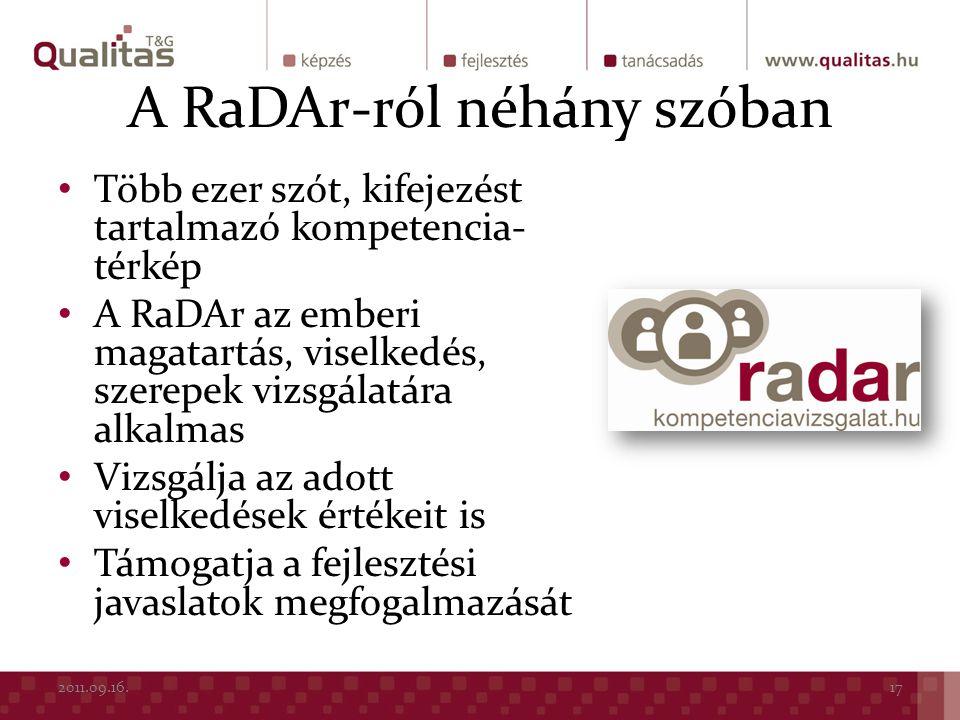 A RaDAr-ról néhány szóban Több ezer szót, kifejezést tartalmazó kompetencia- térkép A RaDAr az emberi magatartás, viselkedés, szerepek vizsgálatára al