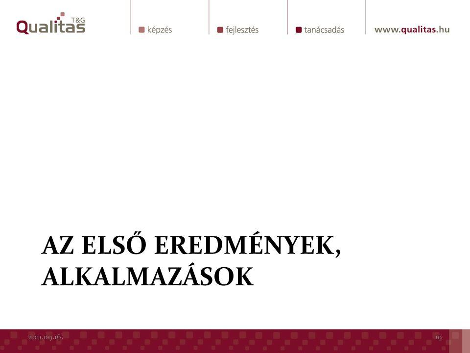 AZ ELSŐ EREDMÉNYEK, ALKALMAZÁSOK 2011.09.16.19