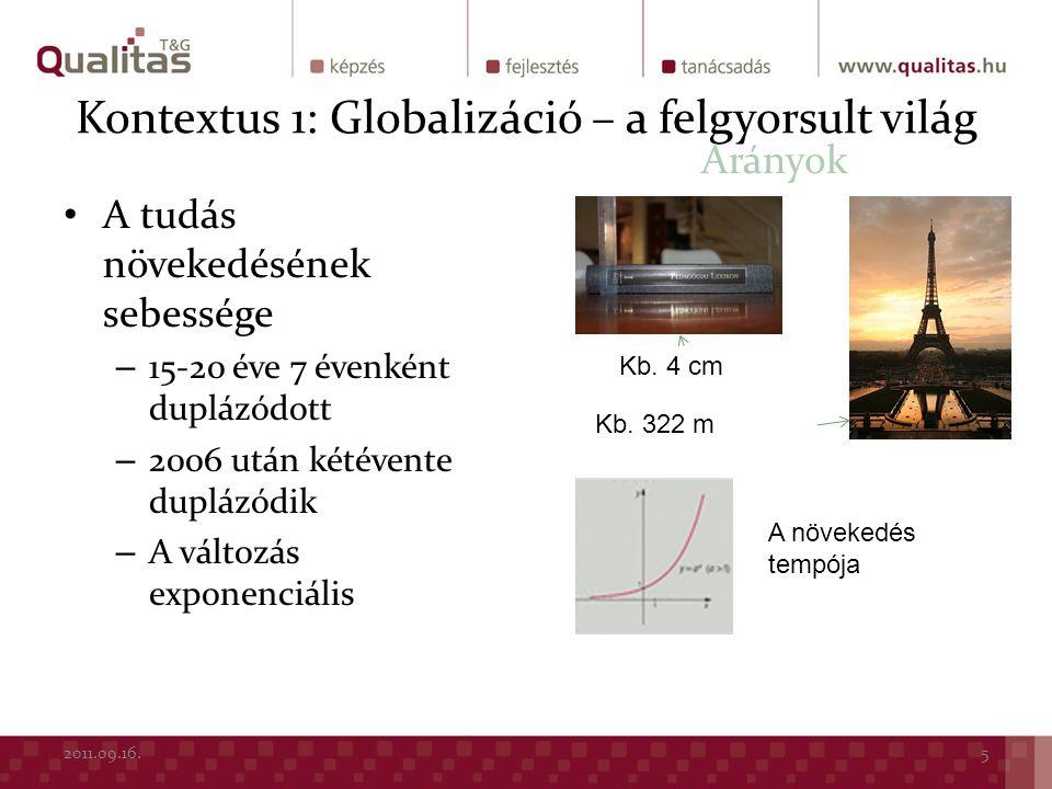 Kontextus 1: Globalizáció – a felgyorsult világ A tudás növekedésének sebessége – 15-20 éve 7 évenként duplázódott – 2006 után kétévente duplázódik –