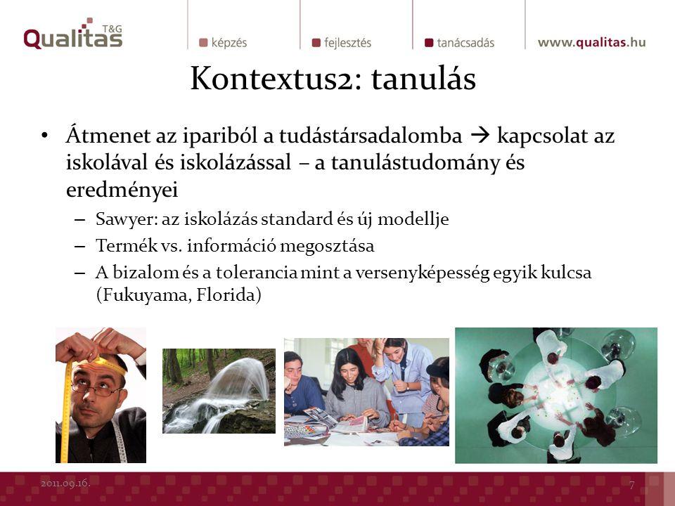 Kontextus2: tanulás Átmenet az ipariból a tudástársadalomba  kapcsolat az iskolával és iskolázással – a tanulástudomány és eredményei – Sawyer: az is