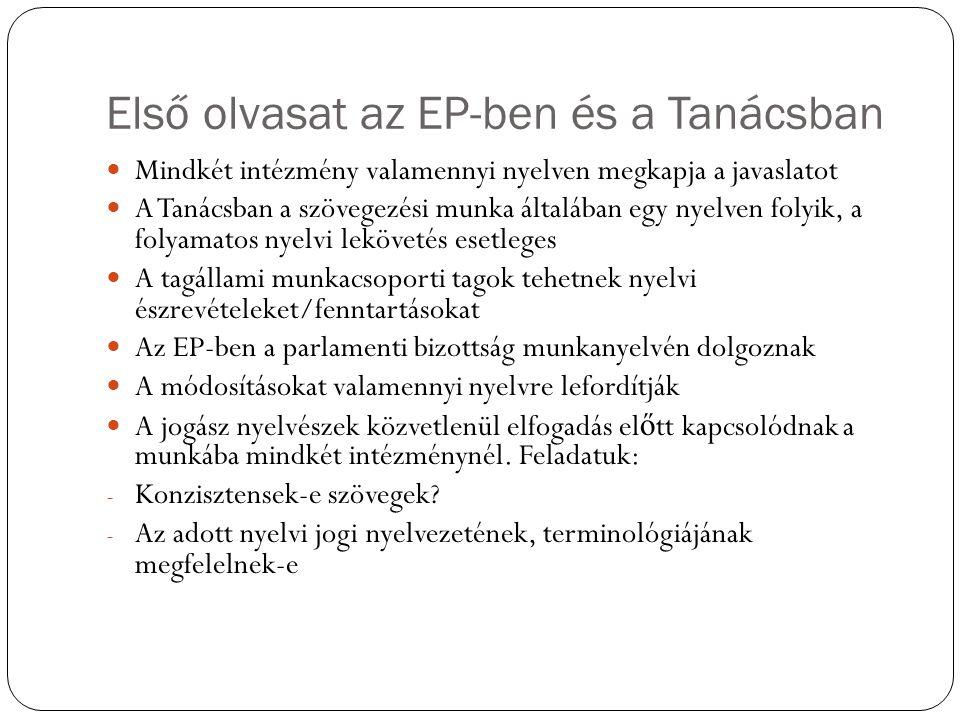 Első olvasat az EP-ben és a Tanácsban Mindkét intézmény valamennyi nyelven megkapja a javaslatot A Tanácsban a szövegezési munka általában egy nyelven