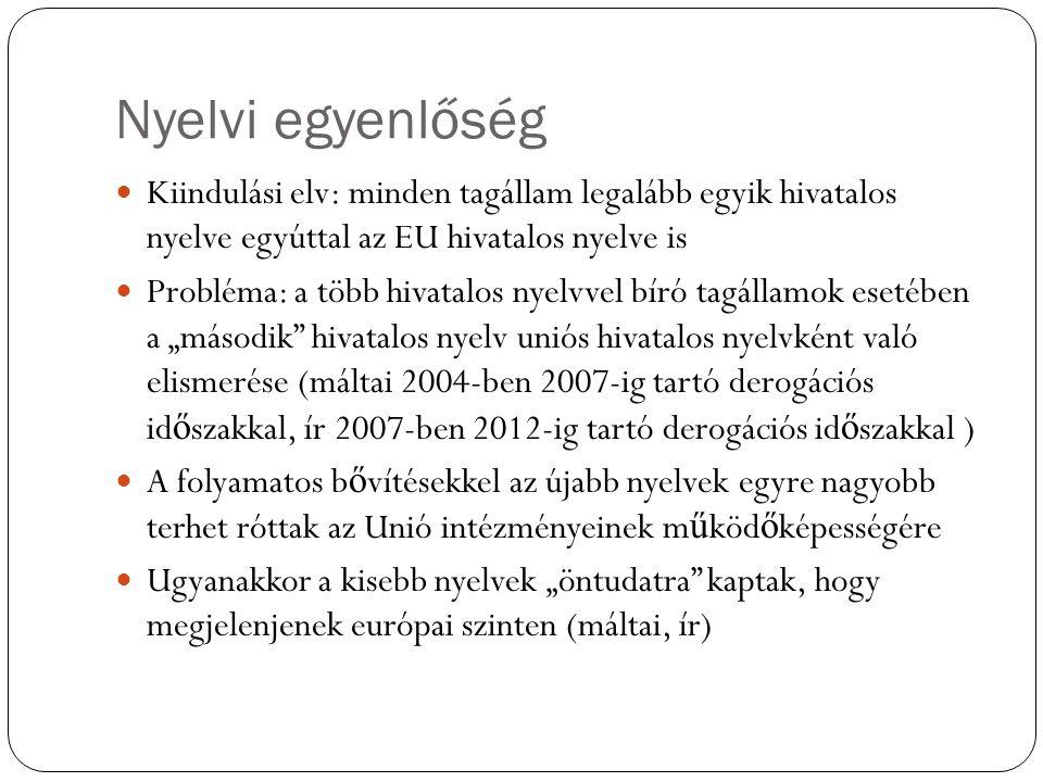 Nyelvi egyenlőség Kiindulási elv: minden tagállam legalább egyik hivatalos nyelve egyúttal az EU hivatalos nyelve is Probléma: a több hivatalos nyelvv
