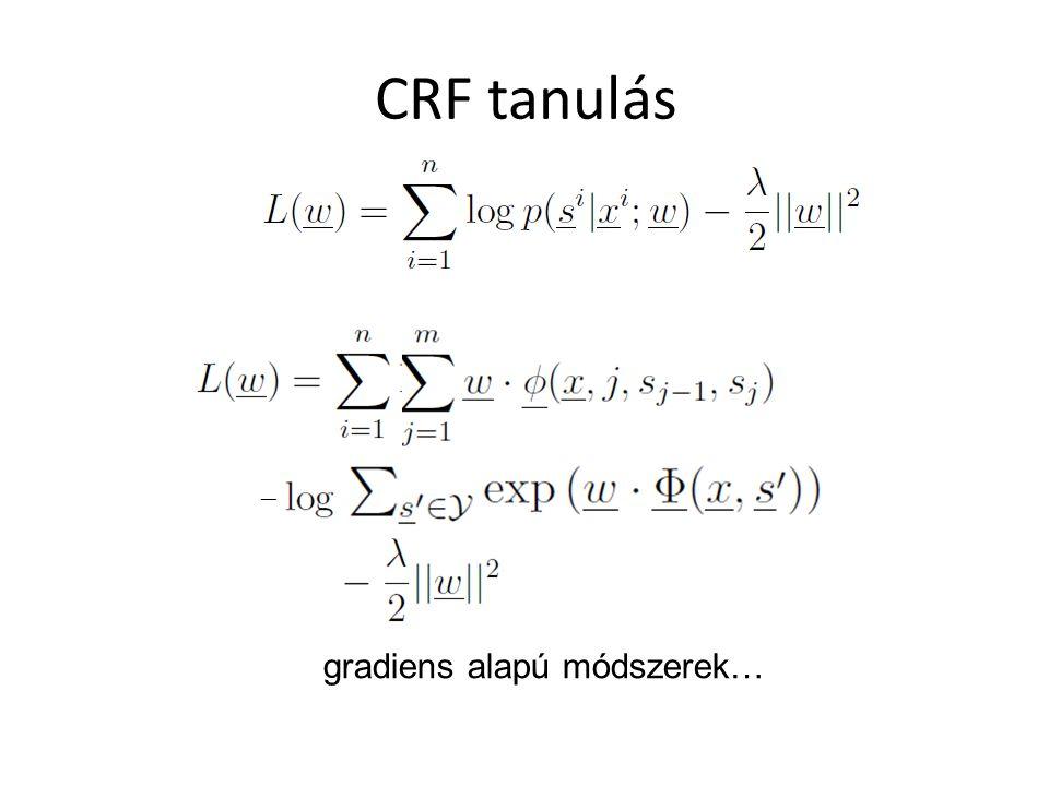 CRF tanulás gradiens alapú módszerek…