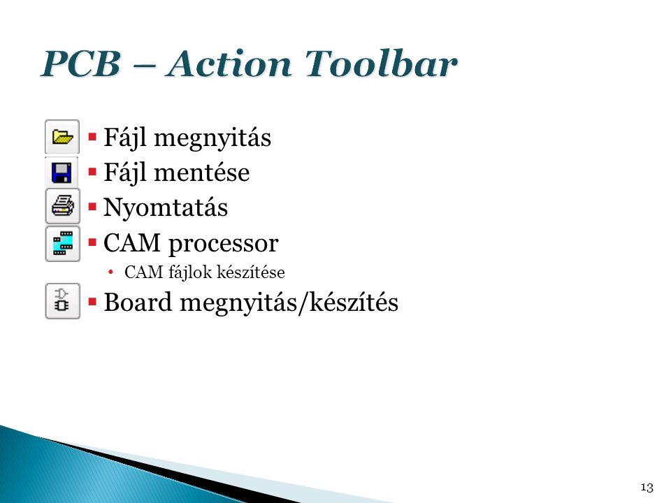  Fájl megnyitás  Fájl mentése  Nyomtatás  CAM processor CAM fájlok készítése  Board megnyitás/készítés 13