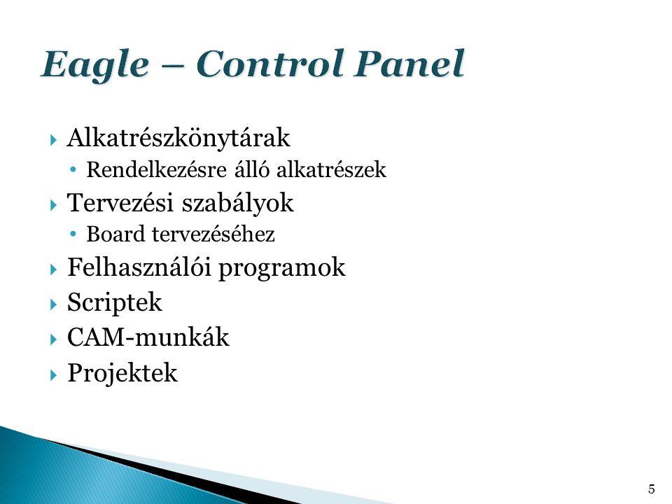  Alkatrészkönytárak Rendelkezésre álló alkatrészek  Tervezési szabályok Board tervezéséhez  Felhasználói programok  Scriptek  CAM-munkák  Projek