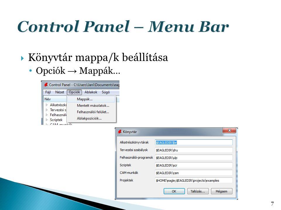  Könyvtár mappa/k beállítása Opciók → Mappák… 7