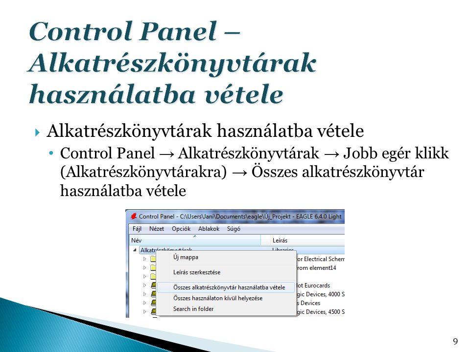  Alkatrészkönyvtárak használatba vétele Control Panel → Alkatrészkönyvtárak → Jobb egér klikk (Alkatrészkönyvtárakra) → Összes alkatrészkönyvtár hasz