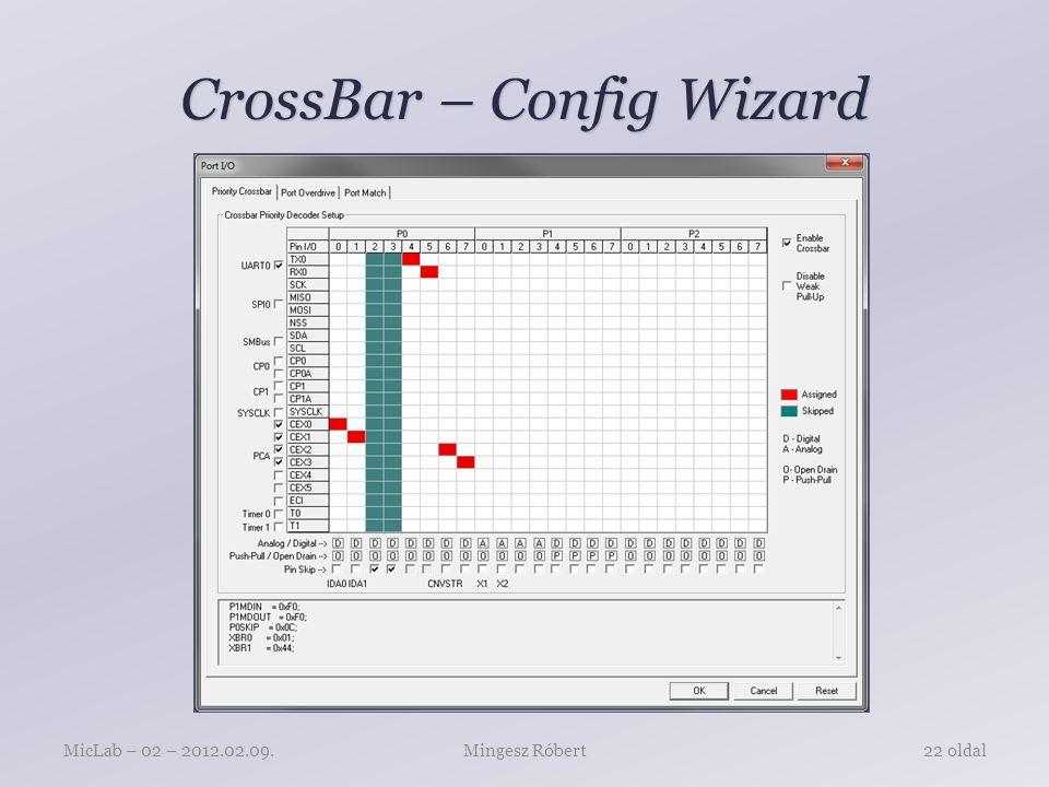 CrossBar – Config Wizard Mingesz RóbertMicLab – 02 – 2012.02.09.22 oldal