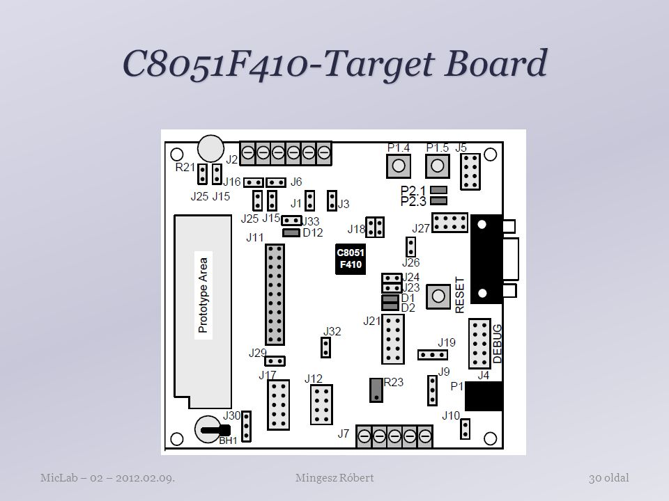 C8051F410-Target Board P1 – Power connector (accepts input from 7 to 15 VDC unregulated power adapter) J1 – 22-pin Expansion I/O connector J3 – Port I/O Configuration Jumper Block J4 – DEBUG connector for Debug Adapter interface J5 – DB-9 connector for UART0 RS232 interface J6 – Analog I/O terminal block J7 – Connector for IDAC0 voltage circuit J8 – USB Debug Adapter target board power connector J9, J10 – External crystal enable connectors J11 – Connector for IDAC1 voltage circuit J12 – Connector block for Thermistor circuitry J13, J14 – ADC external voltage reference connectors Mingesz RóbertMicLab – 02 – 2012.02.09.31 oldal