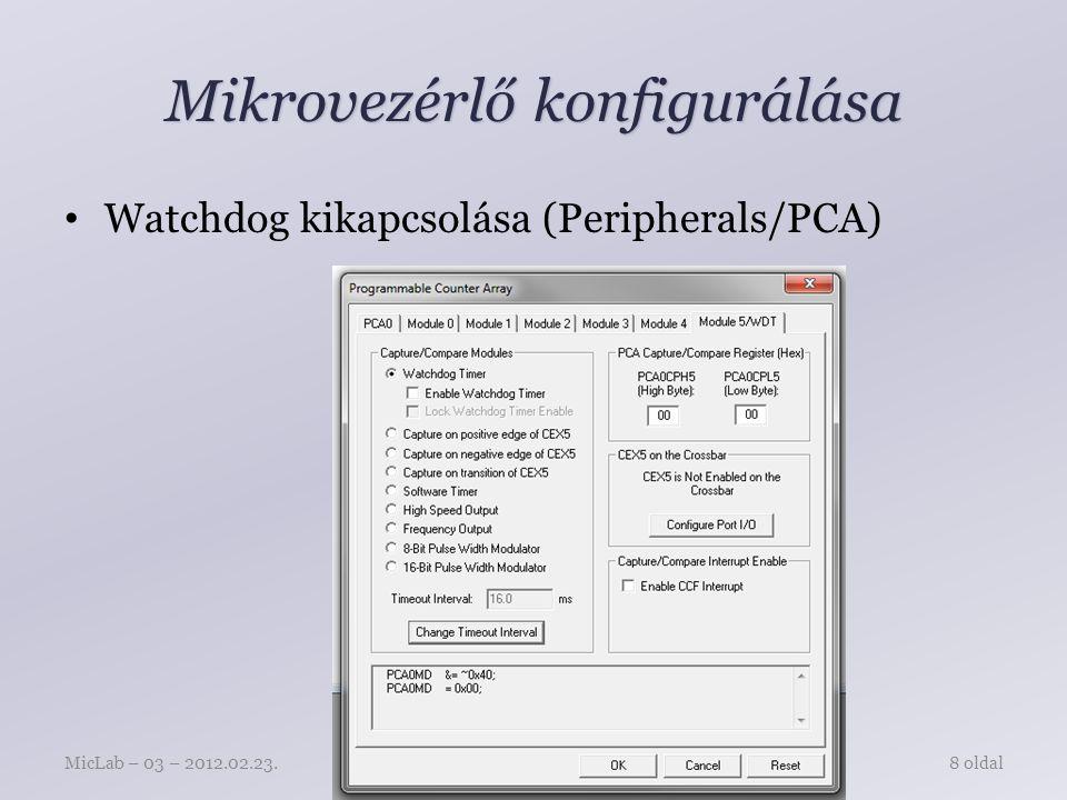 Mikrovezérlő konfigurálása Watchdog kikapcsolása (Peripherals/PCA) Mingesz RóbertMicLab – 03 – 2012.02.23.8 oldal