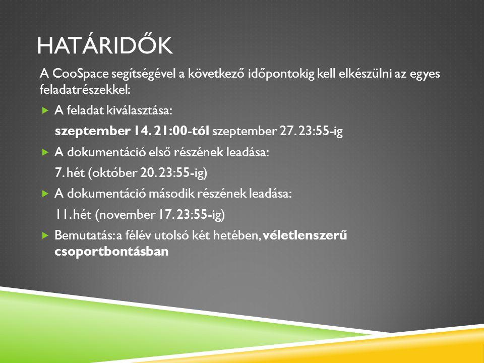 HATÁRIDŐK A CooSpace segítségével a következő időpontokig kell elkészülni az egyes feladatrészekkel:  A feladat kiválasztása: szeptember 14. 21:00-tó