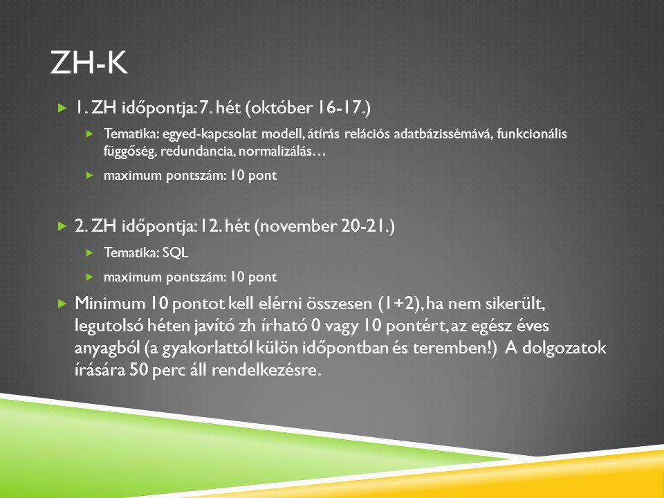 ZH-K  1. ZH időpontja: 7. hét (október 16-17.)  Tematika: egyed-kapcsolat modell, átírás relációs adatbázissémává, funkcionális függőség, redundanci