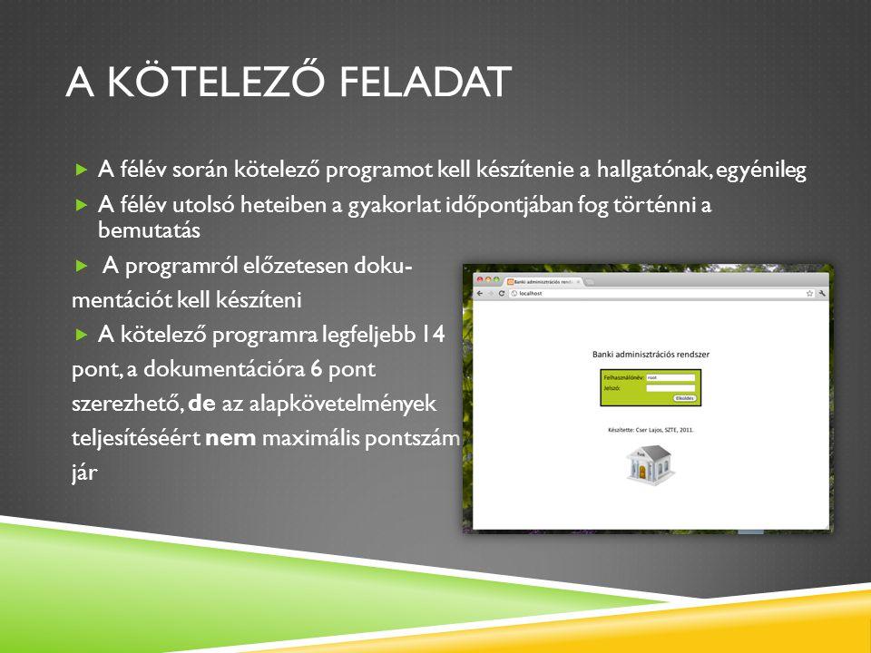 DOKUMENTÁCIÓ Az adatbázis-alkalmazásról 2-5 oldalas írott anyagot kell készíteni, amelynek tartalma:  Egyed-kapcsolat modell.