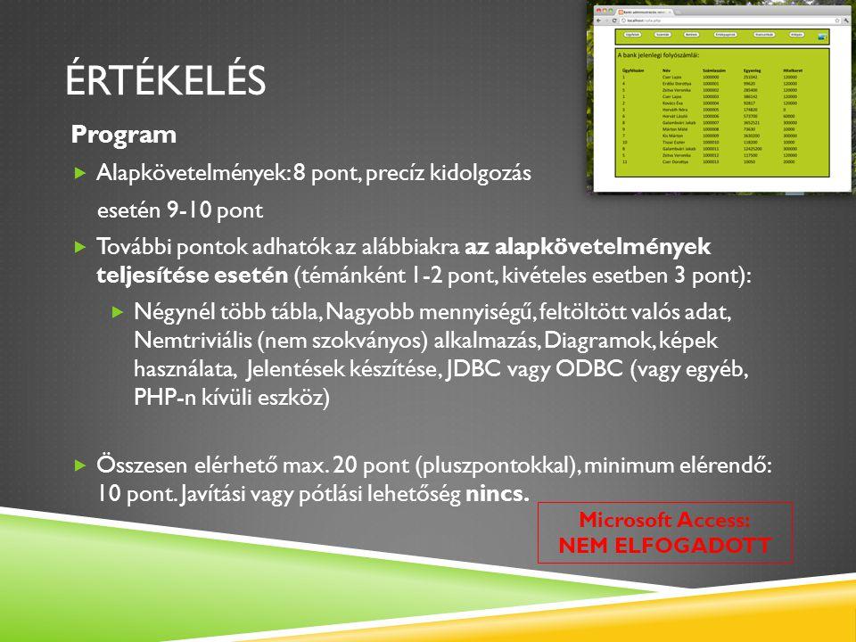 ÉRTÉKELÉS Program  Alapkövetelmények: 8 pont, precíz kidolgozás esetén 9-10 pont  További pontok adhatók az alábbiakra az alapkövetelmények teljesít