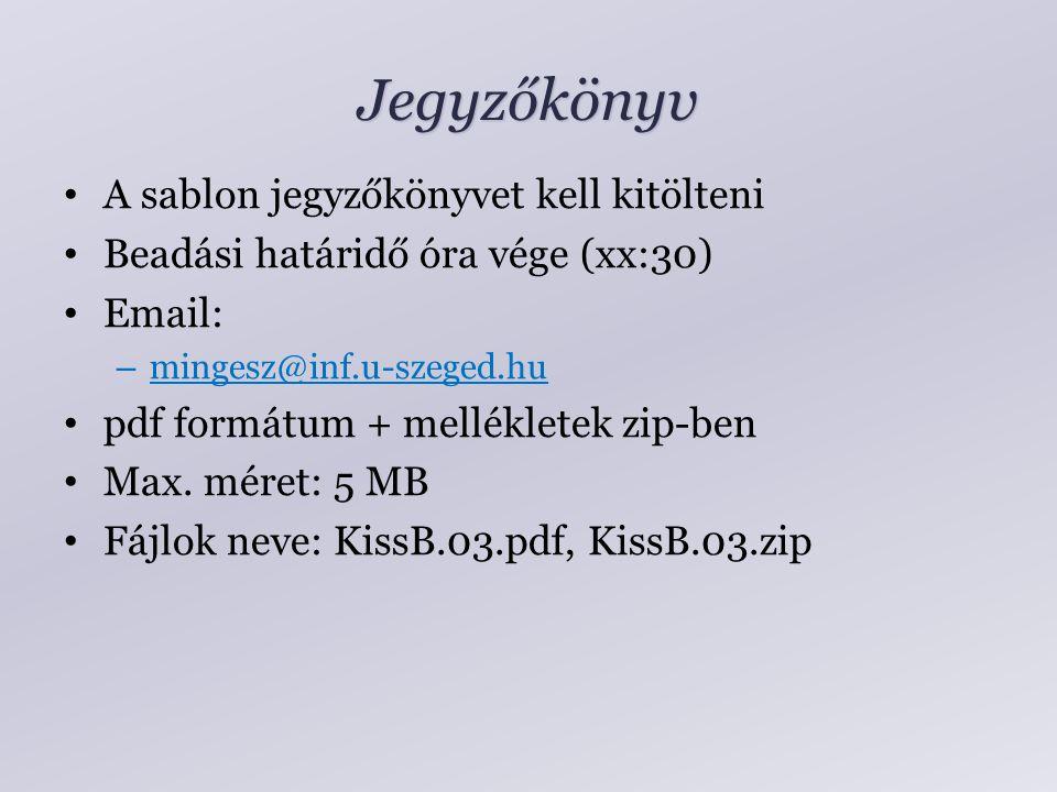 Jegyzőkönyv A sablon jegyzőkönyvet kell kitölteni Beadási határidő óra vége (xx:30) Email: – mingesz@inf.u-szeged.hu pdf formátum + mellékletek zip-ben Max.