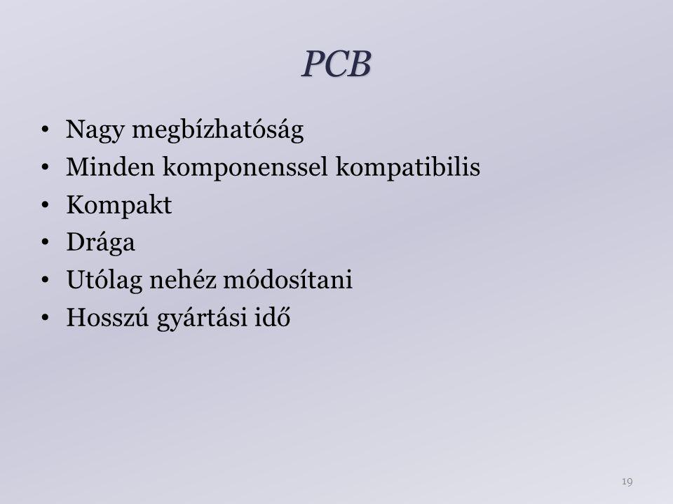 PCB Nagy megbízhatóság Minden komponenssel kompatibilis Kompakt Drága Utólag nehéz módosítani Hosszú gyártási idő 19