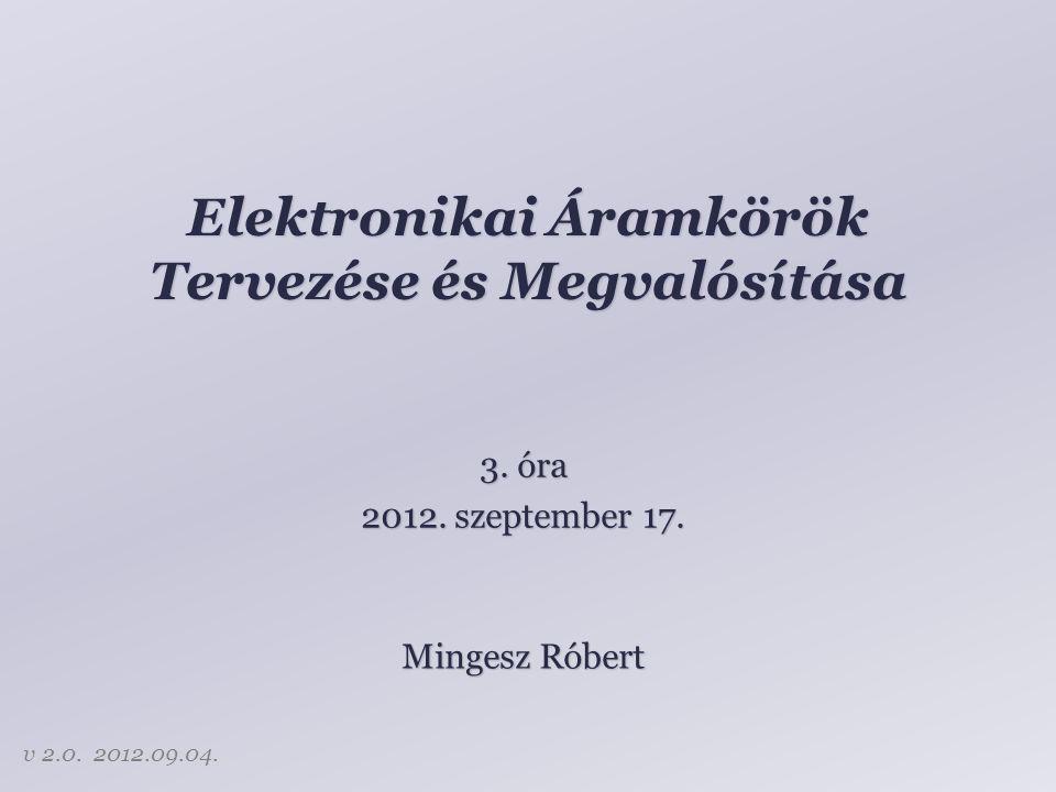 Tartalom Diszkrét alkatrészek – Passzív elemek – Aktív elemek Integrált áramkörök – Műveleti erősítők – Tápfeszültség – Logikai áramkörök 2
