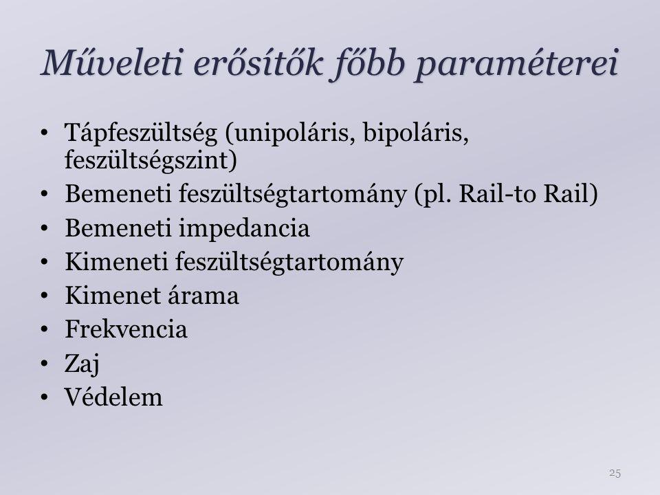 Műveleti erősítők főbb paraméterei Tápfeszültség (unipoláris, bipoláris, feszültségszint) Bemeneti feszültségtartomány (pl. Rail-to Rail) Bemeneti imp