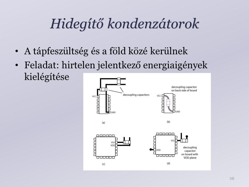 Hidegítő kondenzátorok A tápfeszültség és a föld közé kerülnek Feladat: hirtelen jelentkező energiaigények kielégítése 26