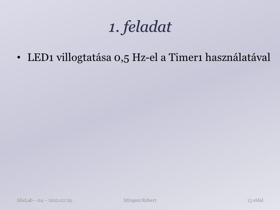 1. feladat LED1 villogtatása 0,5 Hz-el a Timer1 használatával Mingesz RóbertMicLab – 04 – 2012.02.29.13 oldal
