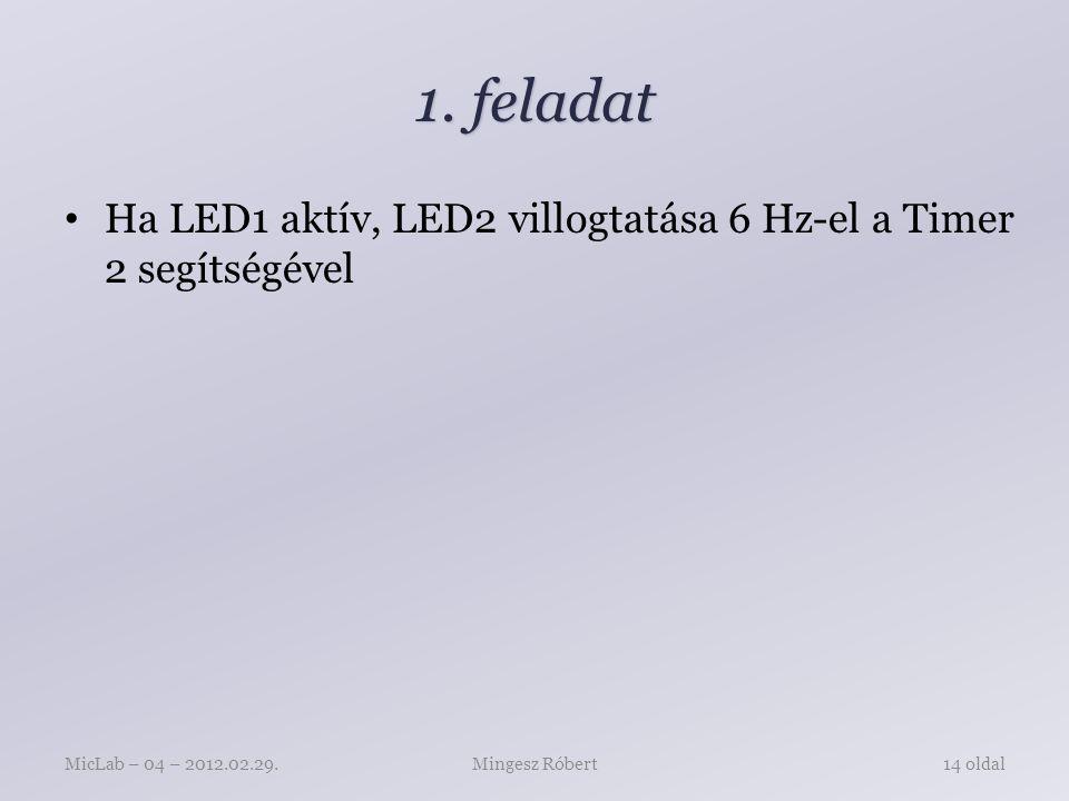 1. feladat Ha LED1 aktív, LED2 villogtatása 6 Hz-el a Timer 2 segítségével Mingesz RóbertMicLab – 04 – 2012.02.29.14 oldal