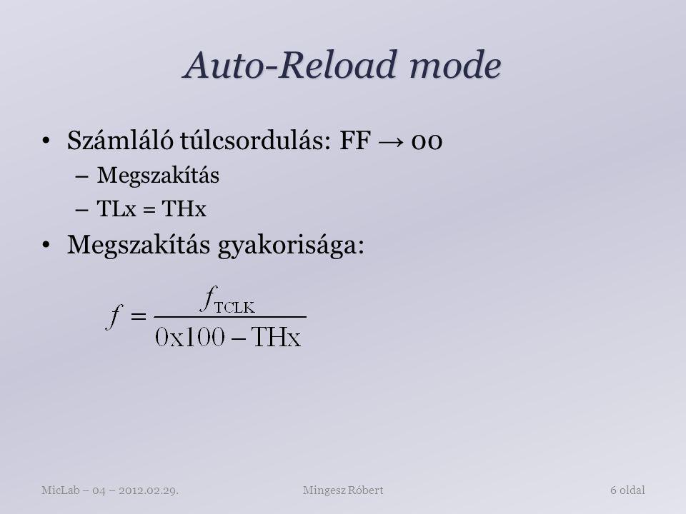 Auto-Reload mode Számláló túlcsordulás: FF → 00 – Megszakítás – TLx = THx Megszakítás gyakorisága: Mingesz RóbertMicLab – 04 – 2012.02.29.6 oldal