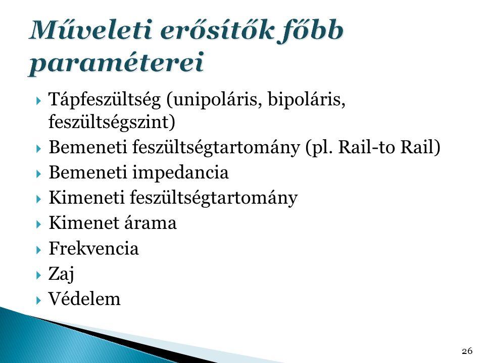  Tápfeszültség (unipoláris, bipoláris, feszültségszint)  Bemeneti feszültségtartomány (pl. Rail-to Rail)  Bemeneti impedancia  Kimeneti feszültség