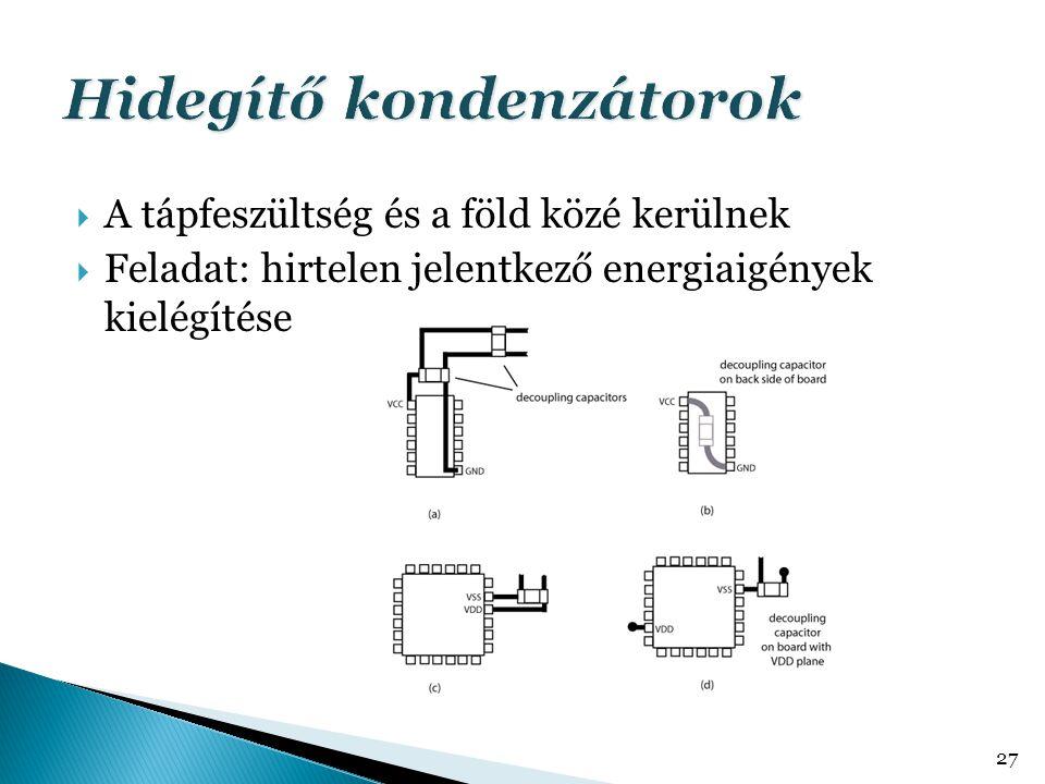  A tápfeszültség és a föld közé kerülnek  Feladat: hirtelen jelentkező energiaigények kielégítése 27