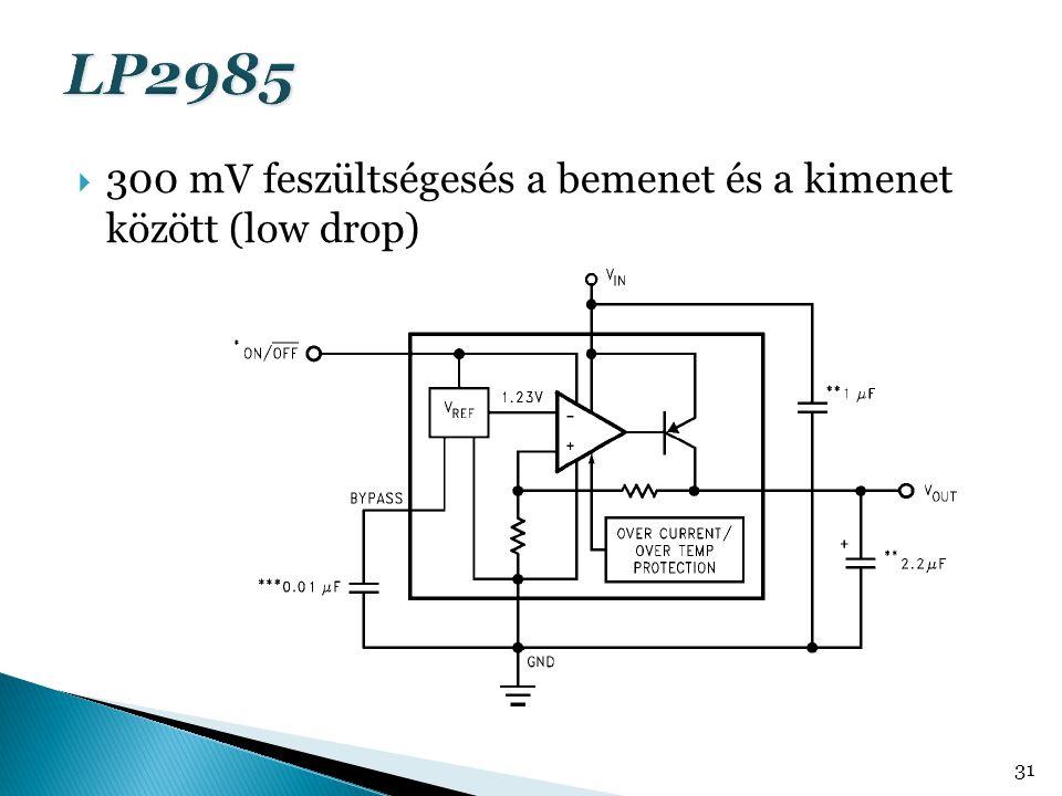  300 mV feszültségesés a bemenet és a kimenet között (low drop) 31