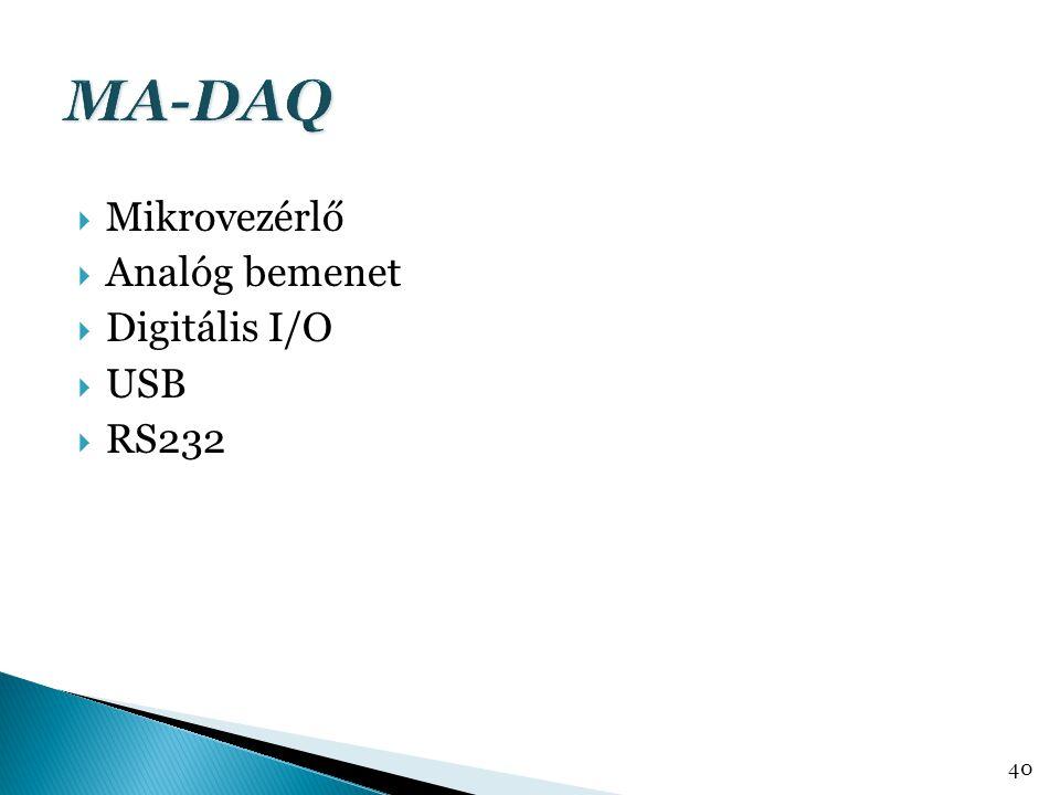  Mikrovezérlő  Analóg bemenet  Digitális I/O  USB  RS232 40